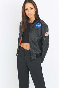 Urban Renewal Vintage Surplus NASA Patch MA1 Black Bomber Jacket - Urban Outfitters