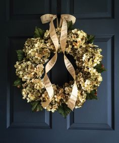 A gorgeous blended hydrangea wreath - handmade with artificial hydrangea mix of green and cream flower colors. The wreath is finished with a satin antiqued pearl color ribbon. The wreath in the photo is a 9 - Hydrangea Wreath  WREATH SIZES • 6 Hydrangea wreath measures 15-16 in diameter and 5 deep. • 9 Hydrangea wreath measures 19-20 in diameter and 5 deep. • 12 Hydrangea wreath measures 22-24 in diameter and 5 deep.  ♥ See what other Customers are saying: http://etsy.me/1SojGpC → Click here…