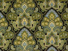 Morriston Foulard Large Paisley fabric green blue by fabricfrantic