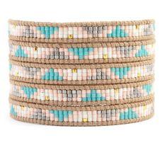 Chan Luu - Salmon Mix Beaded Wrap Bracelet on Beige Leather, $210.00 (http://www.chanluu.com/wrap-bracelets/salmon-mix-beaded-wrap-bracelet-on-beige-leather/)