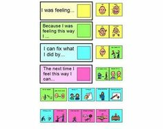 """Emotion wall- must have boardmaker to open (also, this resource also has a poster that says """"quiet hands"""" which is a terrible thing to say- http://juststimming.wordpress.com/2011/10/05/quiet-hands/)"""