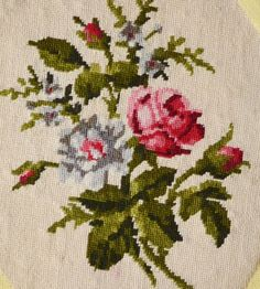 Set of three vintage French floral needlepoint by FrenchDecoChic