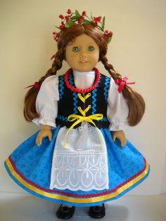 "Fits 18"" American Girl doll Poland Polish folk dress clothes O (COSTUME ONLY)"
