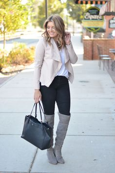 blush black and grey outfit - blush leather jacket, black skinny jeans, grey suede over the knee boots | www.bylaurenm.com