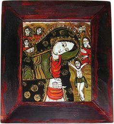 Vierge de douleur. Auteur : Mihaela Bercea. Roumanie, Brad, 2003. Christian Paintings, Art, Painting, Glass Painting