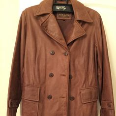 Leather car coat Beautiful dark caramel brown double breasted leather coat. Fully lined. Heavy weight very warm Guess Jackets & Coats