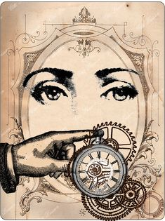 Yeux Mains TempsCotePassion illustration collage of clock ( pocket watch ), girl, finger pointing, vintage style DIY craft idea.