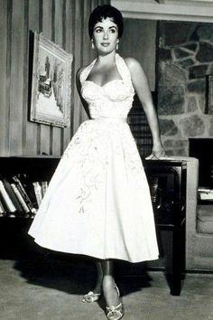 Elizabeth Taylor. Vintage 1950s halter dress.
