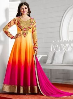 Prachi Desai in i Pink and Yellow designer anarkali