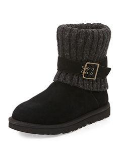 X27QM UGG Australia Cambridge Knit-Cuff Convertible Boot, Black