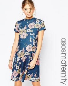 ASOS Maternity High Neck Dress In Floral Print
