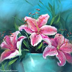 Butterfly Breakfast Pink Lilies 12X12 sm.jpg. Nancy Medina