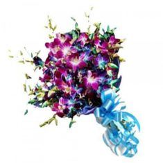 10 Purple Orchid Bouquet 10 purple orchids wrapped in cellophane and tied in fancy blue ribbon Purple Orchid Bouquet, Purple Orchids, Buy Gifts Online, Unusual Gifts, Blue Ribbon, Special Occasion, Fancy, World, Stuff To Buy