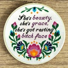 Cross stitch pattern, Bitches quote pattern, Modern cross stitch, She's beauty she's grace she's got resting bitch face, feminism subversive by galabornpatterns on Etsy Folk Embroidery, Cross Stitch Embroidery, Embroidery Patterns, Indian Embroidery, Funny Embroidery, Ribbon Embroidery, Machine Embroidery, Geometric Bird, Geometric Artwork