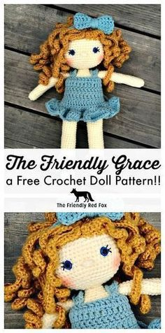 toy design Free Crochet Doll Pattern- The Friendly Grace. Beautiful crochet doll, complete with dress, slippers, and bow. With complete doll tutorials you can create the perfect doll for your little ballerina. Crochet Doll Dress, Crochet Doll Clothes, Crochet Dresses, Crochet Dolls Free Patterns, Crochet Designs, Knitted Dolls Free, Crochet Patterns Amigurumi, Amigurumi Doll, Amigurumi Minta