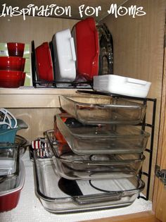 Good Solution To Organize Your Glass Bakeware - I like this idea.  I'm always putting them inside each other
