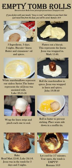 Empty Tombs/Resurrection Buns Empty Tomb Rolls Resurrection Rolls more ideas for celebrating Resurrection Sunday links found in the post Resurrection Cookies Tea Dyed Eggs (You can use food coloring or beet juice also) Easter Dinner, Easter Party, Easter 2018, Easter Cake, Holiday Treats, Holiday Recipes, Family Recipes, Holiday Fun, Holiday Foods