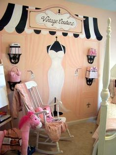 French inspired tween room by Rene Gebhart Designs--love the black and white awning