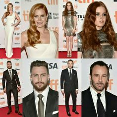 #AmyAdams, @elliebamber_,  @aarontaylorjohnson and director @tomford on the red carpet at the premiere of #NocturnalAnimals held during the #TIFF on Sunday (11). (📸 Getty)