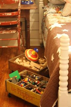 Lego or little toy storage using wooden soda crates with caster wheels attached. Perfect for under the bed!