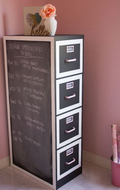 File Cabinet Makeover - Easy Decorating Ideas... If I ever have my very own craft room, I could use one of these! :)