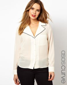 ASOS CURVE - Blouse With Drop Collar And Contrast Scallop Detail
