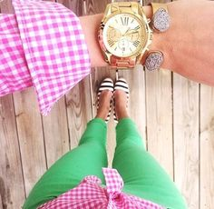 green / pink / gingham / stripes / gold / watch #green