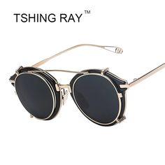 Aliexpress.com: Comprar Nuevo Vintage Steampunk Clip on gafas de sol hombres mujeres Hip Hop ronda gafas de sol Retro Steam Punk macho UV400 tonos gafas de sol de vidrios mp4 fiable proveedores en TSHING Trade Co.,Ltd.