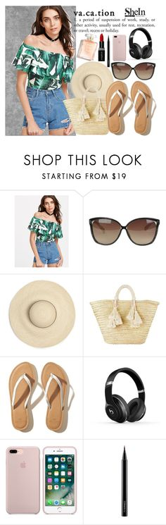 """Flounce Palm Leaf Print Bodysuit"" by basmahahmed ❤ liked on Polyvore featuring Linda Farrow, Giselle, Hollister Co., Beats by Dr. Dre, MAC Cosmetics and Smashbox"