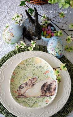 Placemats, Bunny Plates, Napkins/ Pottery Barn  Easter Greetings Eggs/ Michaels  Dinner Plates/ Paula Deen~ Whitaker~ Target