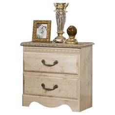 Weathered nightstand with pewter-finished bail pulls. Product: NightstandConstruction Material: Wood, marble lam...