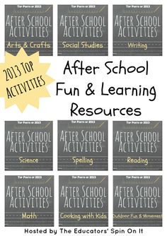 2013 Top Activities for After School Fun and Learning from the Cohosts of the After School Linky Party #learningafterschool