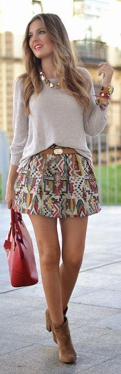 Beige Multi Tribal Print A-line Mini Skirt by Mi Aventura Con La Moda