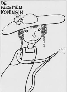 zwart wit prent: bloemenkoningin (de knuffelkoningin) Montessori, Snoopy, Fictional Characters, Queen, Fantasy Characters