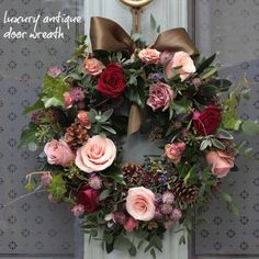 Roses and pine cones wreath