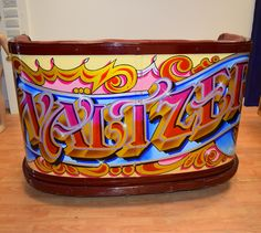 Original Waltzer car painted by George Hebborn Fairground Games, Painted Signs, Hand Painted, Vintage Props, Sign Writing, Fun Fair, Car Painting, Coffee Cans, Lettering