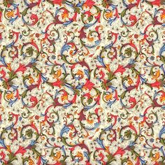 Blue and Red Florentine Scrolls Italian Print Paper ~ Carta Fiorentina Italy