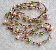 Beige Bohemian crochet wrap long necklace bracelet by OlenaDesigns