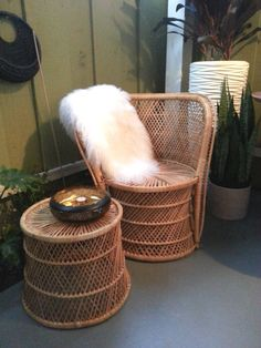 This listing is for both the wicker chair and table as shown in the pictures. The chair has a bit of damage on the arm as it is wired together. Peacock Chair, Wicker Table, Tag Image, Newport Beach, Thrifting, 1970s, Armchair, Antiques, Chairs