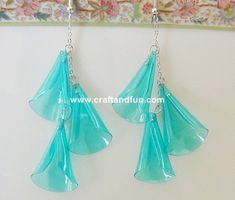 Earrings made with recycled plastic bottle in jewelry diy  with tutorial Recycled Plastic Jewelry DIY