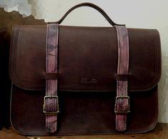 Backpack .... shoulder bag .... hand bag at the same time No 4 office in dark brown vintage leather with sick details