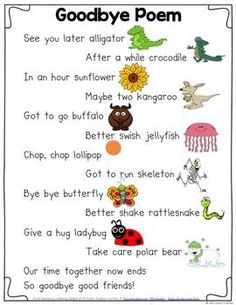 Goodbye Poem - Classic classroom displays for kids - Goodbye Rhyming Poem - Preschool Poems, Kindergarten Poems, Kids Poems, Preschool Classroom, Preschool Activities, Preschool Goodbye Song, Preschool Graduation Songs, Preschool Transitions, Pre K Graduation Songs
