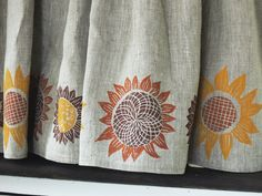 Kitchen valance???    Autumn Sunflowers natural linen cafe curtains hand block printed in pumpkin, mustard, and fig marsala