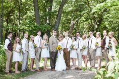 boho wedding, mix match, cream bridesmaids, brown vests groomsmen, campground