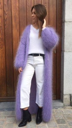 Angora Sweater, Sweater Coats, Wool Sweaters, Knitwear Fashion, Sweater Fashion, Gros Pull Mohair, Chunky Knitwear, Pullover Mode, Crochet Jacket