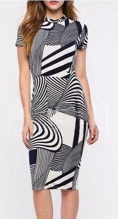 Hongbeier Black & White Printed Dress For Women @Looksgud.in #Hongbeier…