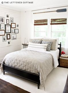 Guest Bedroom at The Lettered Cottage: fabulous combination of black, brown, and white. Small touches of navy and red really help keep it fresh.