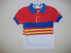 Vintage Toddler Boy Oshkosh Primary Colors Striped by LittleMarin