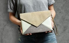 Hey, I found this really awesome Etsy listing at https://www.etsy.com/listing/117460167/clutch-bag-letter-medium-beige-gray