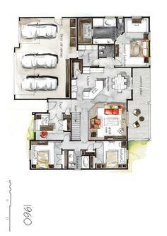 Real Estate Color Floor Plan and Elevation 5 by Boryana, via Behance